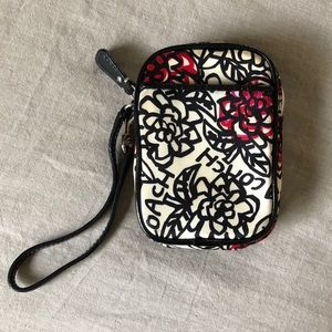 Coach wristlet - ivory w/ black and hot pink print